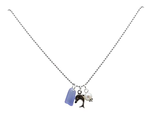 1786e2bf7 Amazon.com: Vintage Reef Silver-Tone Nautical Charm Necklace with  Freshwater Cultured Pearl and Tumbled Glass Charms - Blue, Dolphin: Jewelry
