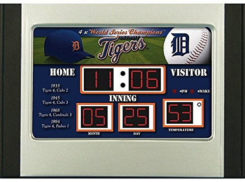 Scoreboard Mlb Clock (Detroit Tigers Scoreboard Desk & Alarm Clock - MLB Licensed)