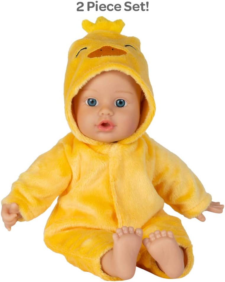 Adora Soft Baby Doll Funsie Onesie Baby Duck 11 inch Mini Vinyl Doll, Cuddly Weighted Body, Blue Eyes