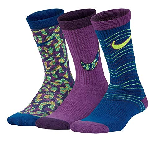Nike 3-Pairs Girls Performance Lightweight Graphic Crew Sock Youth Small 3Y -5Y ( Purple Blue Volt) by NIKE