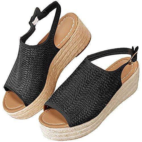 Ru Sweet Women's Espadrille Wedge Sandals Braided Jute Ankle Buckle Platform - Braided Platform