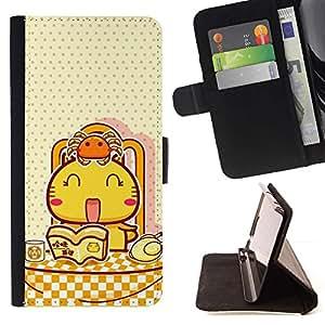 Momo Phone Case / Flip Funda de Cuero Case Cover - Lindo japonés del gato feliz - Apple Iphone 5 / 5S