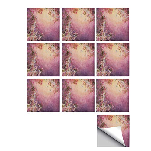 Cherry Blossom Floral Porcelain - C COABALLA Art Stylish Ceramic Tile Stickers 10 Pieces,Enchanted Cherry Blossom Petals Field Shabby Chic Floral Garden Spring Picture Decorative for Kitchen Living Room,7