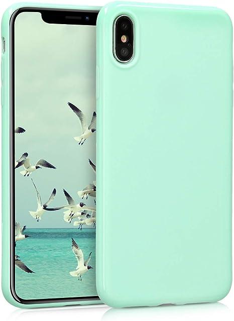 Carcasa para m/óvil en TPU Silicona kwmobile Funda para Apple iPhone XS MAX Protector Trasero en Azul Claro Mate