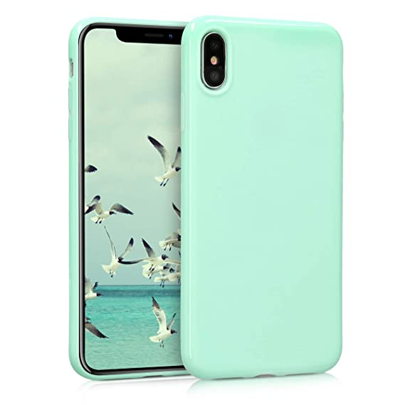 sale retailer c5e4d 32286 kwmobile TPU Silicone Case for Apple iPhone Xs Max - Soft Flexible Shock  Absorbent Protective Phone Cover - Mint Matte
