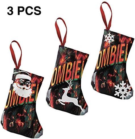 クリスマスの日の靴下 (ソックス3個)クリスマスデコレーションソックス ゾンビZombieland クリスマス、ハロウィン 家庭用、ショッピングモール用、お祝いの雰囲気を加える 人気を高める、販売、プロモーション、年次式