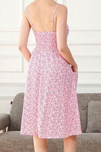 Beach Coolred Pink Single Button Backless Dress Women Printed Floral Sling wpqwn7RaH