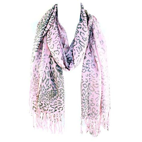 Silver Fever Pashmina-Leopard Animal Print Shawl- Stylish Soft Scarf Wrap (Pink Gray)