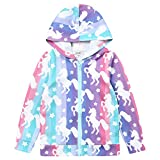 Liliane Coats for Girls Jackets for Girls Girls Unicorn Pony Unicorn Zip Hoodie Girls Zip Jacket for Girls(A039,8-9Years)