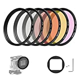 D&F 58mm Professional Photography Filter Kit Underwater Lens Filter Set for GoPro Hero 5 - Hero 6 housing case with 6 Colors Red - Purple - Gray - Transparent - black - yellow