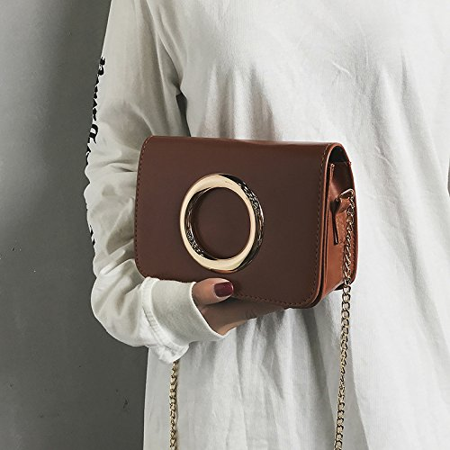 Bolso cadena color simple de Nueva Brown Messenger Bolso golden bolsos Borgoña retro moda circle sólido Light IzzqpPAY