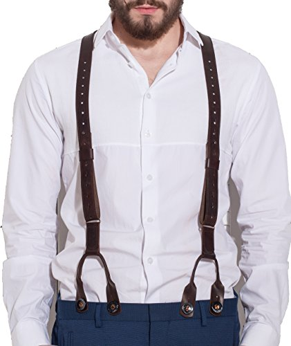 Men's Leather Suspenders Handmade Y-Back Vintage Braces Adjustable Brown Wedding Suspenders (from 5'9'' to 6'7'', Brown)2 types of fastening by Mendal