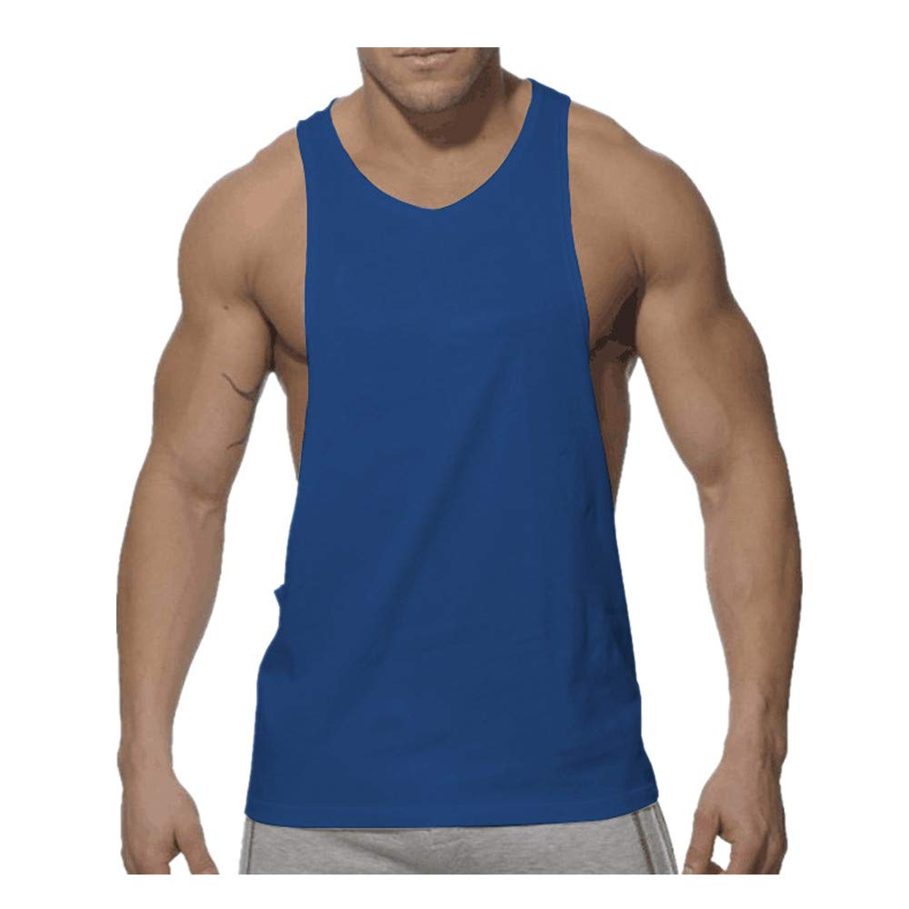 Seaintheson Men's Tank Tops, Men New Summer Sports Shirts Pure Cotton Vest Top Large Open-Forked Muscle Workout T Shirt Dark Blue