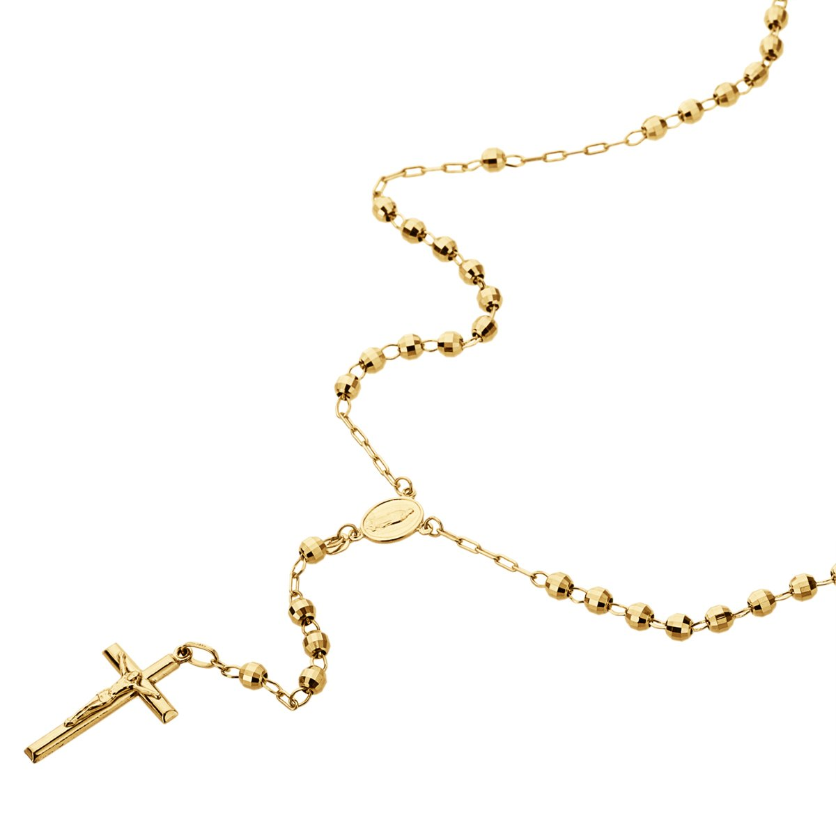 14K Gold Tri-color, Yellow or White Gold Chain 3mm DC Bead Rosary Chain Necklace (16, 18, 20, 24 Inches), 16'' by Double Accent (Image #1)