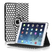 TNP Apple iPad 2/3/4 Case (Dot Black)- 360 Degree Rotating Stand Cover PU Leather For iPad 4th Generation with Retina Display, the New iPad 3 & iPad 2 with Auto Sleep Wake Feature & Stylus Holder