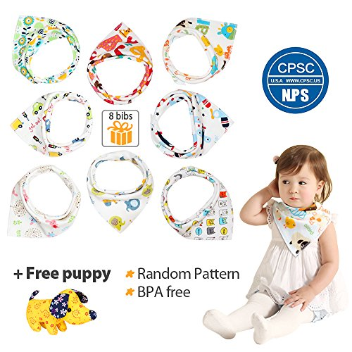 Baby Bandana Drool Bib Set, with Free Puppy, Organic Cotton, Soft and Absorbent, Stylish Design for Drooling and Teething Boys and Girls Toddler, 8 Packs by Ripeak by Ripeak