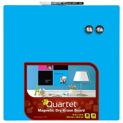 Quartet Dry-Erase Board, 14 x 14 Inches, Frameless, Neon Blue Surface (85471-BU) (14 Inch Dry Erase)