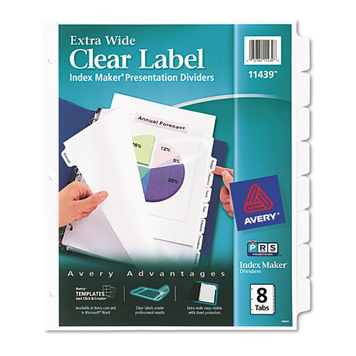 Avery Dennison Index Maker (Avery Index Maker Clear Label Dividers, 8-Tab, 11 1/4 x 9 1/4, White)