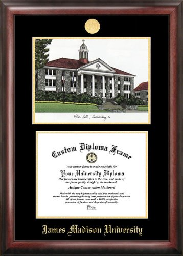 (Campus Images James Madison University Gold embossed diploma frame lithograph)