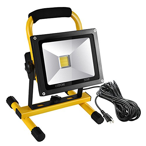 LEDGLE 30W LED Work Light (210W Equivalent),IP65 Waterproof Flood Lights,16ft/5M Cord with Plug,Adjustable Angle Stand Industrial Working Light for Workshop, 2500lm, 6000K, Daylight White by Ledgle