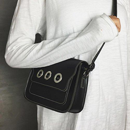 ESAILQ Cuero Bolso de Hombro Bolsa De Mochila Multiusos Baratos Para Movil Mujer Niñas H Negro