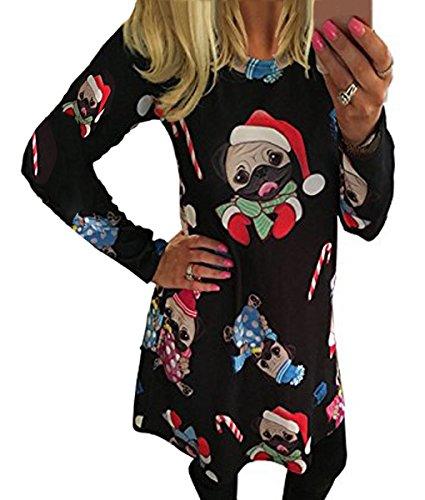 A Minetom Impresión Calabaza Mujer Largas de Vestido Line C Tipo Camiseta Nieve para Ropa Swing Navidad Niñas Dress Mangas SSdqrx