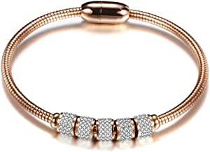 Jude Jewelers Stainless Steel Cubic Zircon Magnetic Snake Chain Bangle Bracelet
