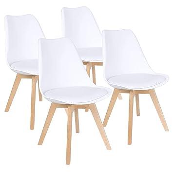 Naturelifestore Pack de 4 sillas de Comedor/Oficina con Madera de ...