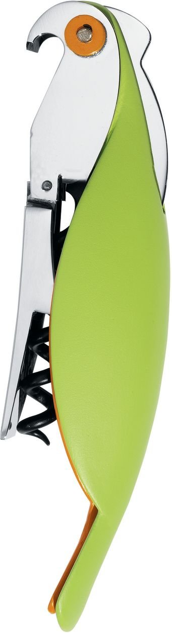 A di Alessi Parrot Sommelier-Style Corkscrew, Green