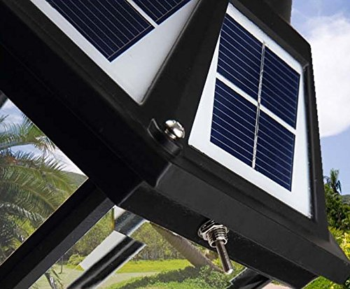 The Round Extra Large Solar Post Cap Lights or Solar Pillar, Diameter: 9.8 Inch; Height: 20.5 Inch. Solar Powered Post Caps. Elegantly Designed Solar Light Post Caps (New Metal Black) by Smart Light (Image #5)