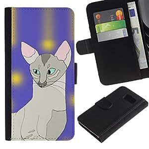 All Phone Most Case / Oferta Especial Cáscara Funda de cuero Monedero Cubierta de proteccion Caso / Wallet Case for Samsung Galaxy S6 // Sphynx Art Cat Painting Javanese Blue