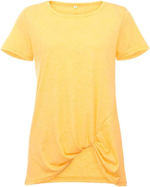 Camiseta de Manga Corta con Cuello Redondo Anudado de ...
