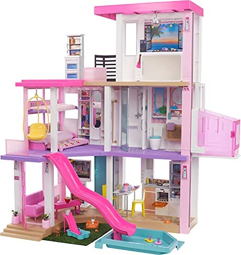Barbie New 2021 DreamHouse (3.75-ft) Big Dollhouse with Pool, Slide, Elevator, Lights & Sounds, + Dollhouse Accessories & Furniture, Toy House for Dolls, Preschool Dolls, Gift for Age 3 and up