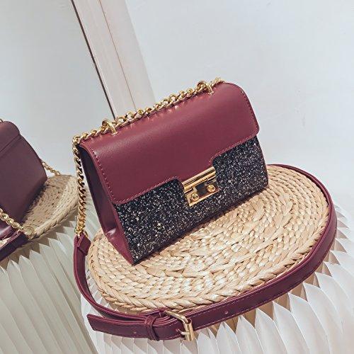 De Moda de cuero Bolso mensajero Pequeño Lentejuelas Mujer de bandolera Bolso Hombro bolso Bolsos Rojo Con 5x78wYSq8
