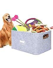 Dog Toys Storage Bins, Foldable Pet Storage Basket Felt Storage Box Children Toy Storage Organizer, Home Office Storage Container, Storage Case for Clothes, Towels, Magazine (Light Grey)