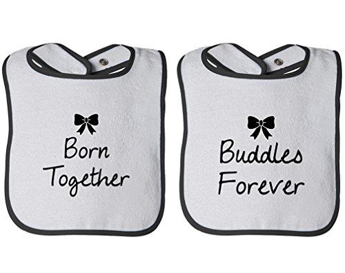 Price comparison product image Born Together Buddies Forever Infant Contrast Trim Terry Bib Twin Set White / Black
