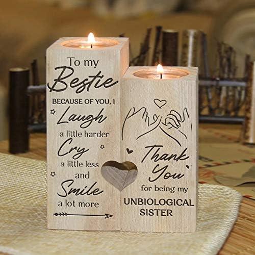 Bougeoir avec bougie cadeau pour votre meilleure amie Smile A Beaucoup More RNICE Bougeoir en bois en forme de petit c/œur avec inscription /« To My Bestie /»