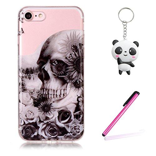 iPhone 7 / iPhone 8 Hülle Schädelblume Premium Handy Tasche Schutz Transparent Schale Für Apple iPhone 7 / iPhone 8 + Zwei Geschenk