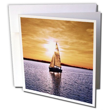 3dRose sail boat sunset - Greeting Cards, 6 x 6 inches, set of 12 (gc_23820_2)