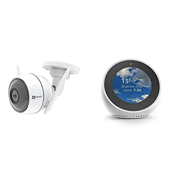 Echo Spot blanco + EZVIZ ezTube 1080P, IP Cámara de Seguridad con Defensa Activa, Luz Estroboscópica ...