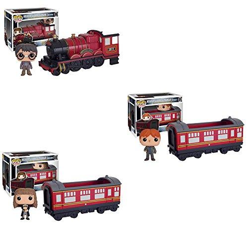 Harry Potter Hogwarts Express Engine Vehicle with Harry Potter, Ron Weasley, Hermione Granger Pop! Vinyl Figures Set of 3