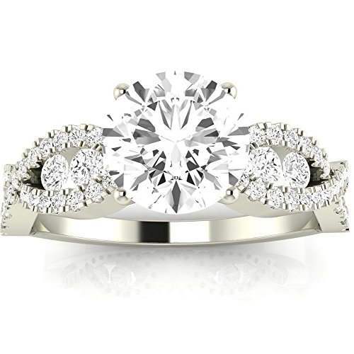 14K White Gold 1.34 CTW Round Cut Designer Twisting Eternity Channel Set Four Prong Diamond Engagement Ring, K Color SI2-I1 Clarity, 0.74 Ct Center