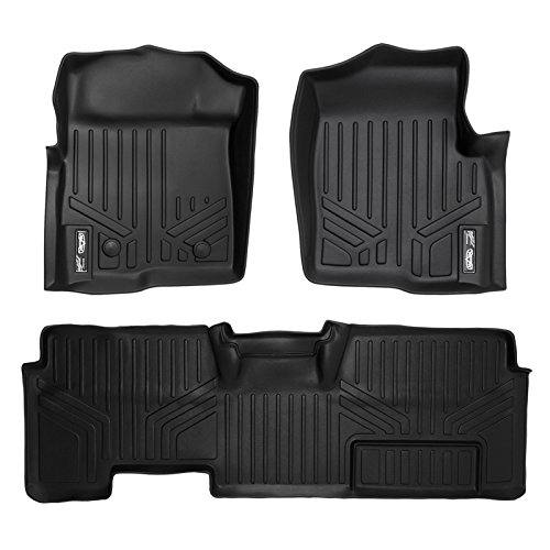 SMARTLINER Floor Mats 2 Row Liner Set Black for 2011-2014 Ford F-150 SuperCab Non Flow Center Console