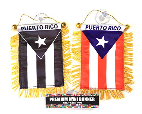 (PUERTO RICO Mini rearview mirror mini flag, Boricua pride Puerto Rican flag)