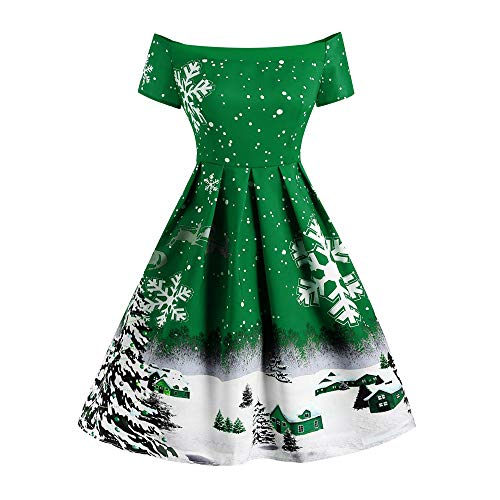 Sunhusing Ladies Sexy Off-Shoulder Short Sleeve Christmas Snowflake Print Vintage Pleated Dress A-Line Dress for $<!--$9.12-->
