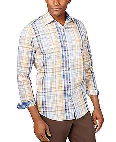 Tasso Elba Mens Plaid Button Front Dress Shirt Blue S -