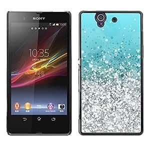 Be Good Phone Accessory // Dura Cáscara cubierta Protectora Caso Carcasa Funda de Protección para Sony Xperia Z L36H C6602 C6603 C6606 C6616 // Silver Aquamarine Vibrant Bling