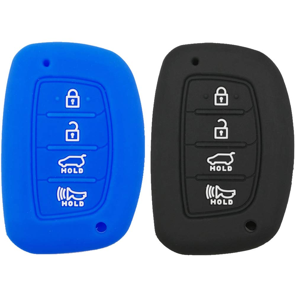 Silicone Car Key Case Rubber Key Fob Remote Cover Keyless Entry Jacket Holder Protector for 2018 2017 2016 Hyundai Tucson Elantra Sonata Santa Fe Tucson I40 IX35 I45 Smart 4 Buttons 2Pcs