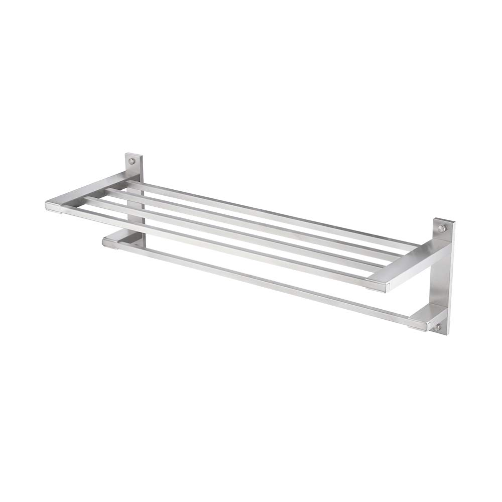 Kes SUS304 Stainless Steel 22'' Hotel Towel Rack Bathroom Shelf Shower Towel Bar Rust Proof Wall Mount Contemporary Style Space Saving for Multi Hand Towels Brushed Finish, A2410-2