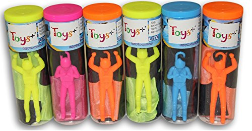 Toy Skydiver Parachute Men 6 Piece Set- Tangle Free (Colors and Styles May Vary) 6 Man Canister